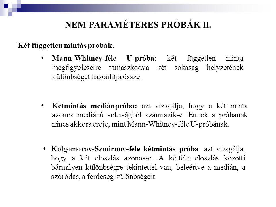 NEM PARAMÉTERES PRÓBÁK II.