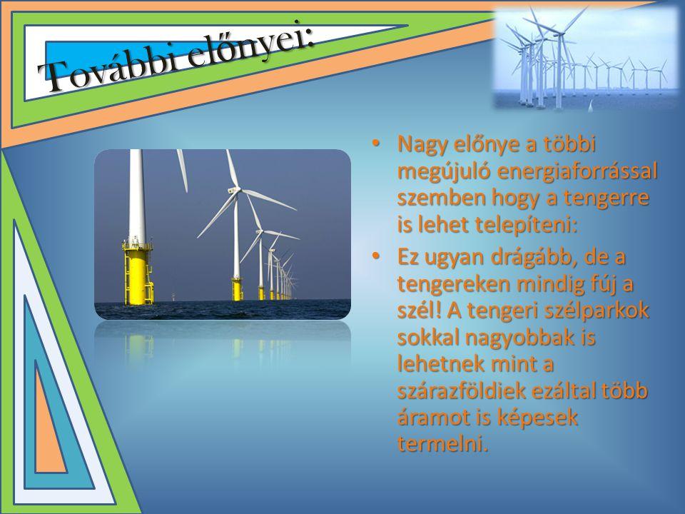 További előnyei: Nagy előnye a többi megújuló energiaforrással szemben hogy a tengerre is lehet telepíteni: