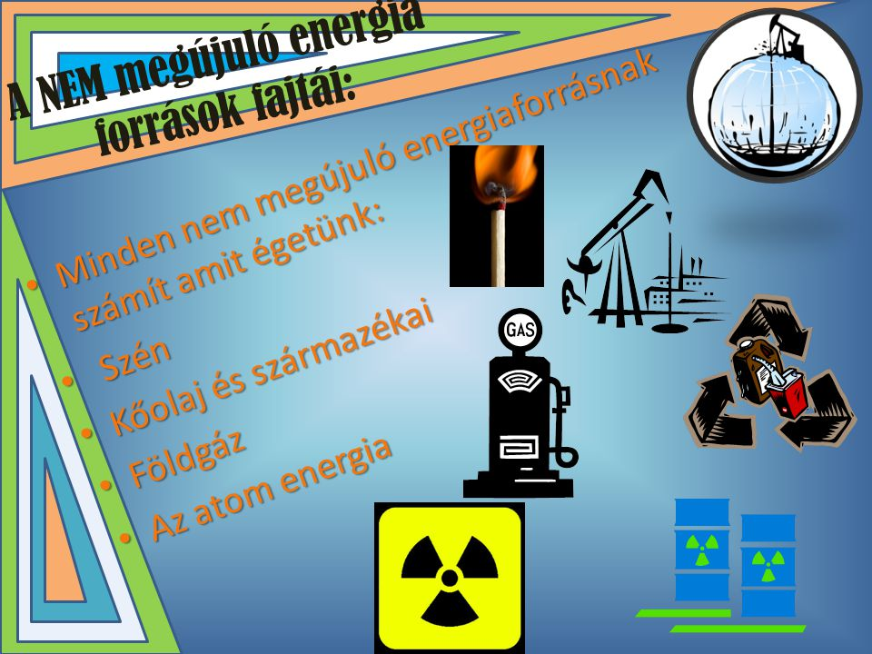 A NEM megújuló energia források fajtái: