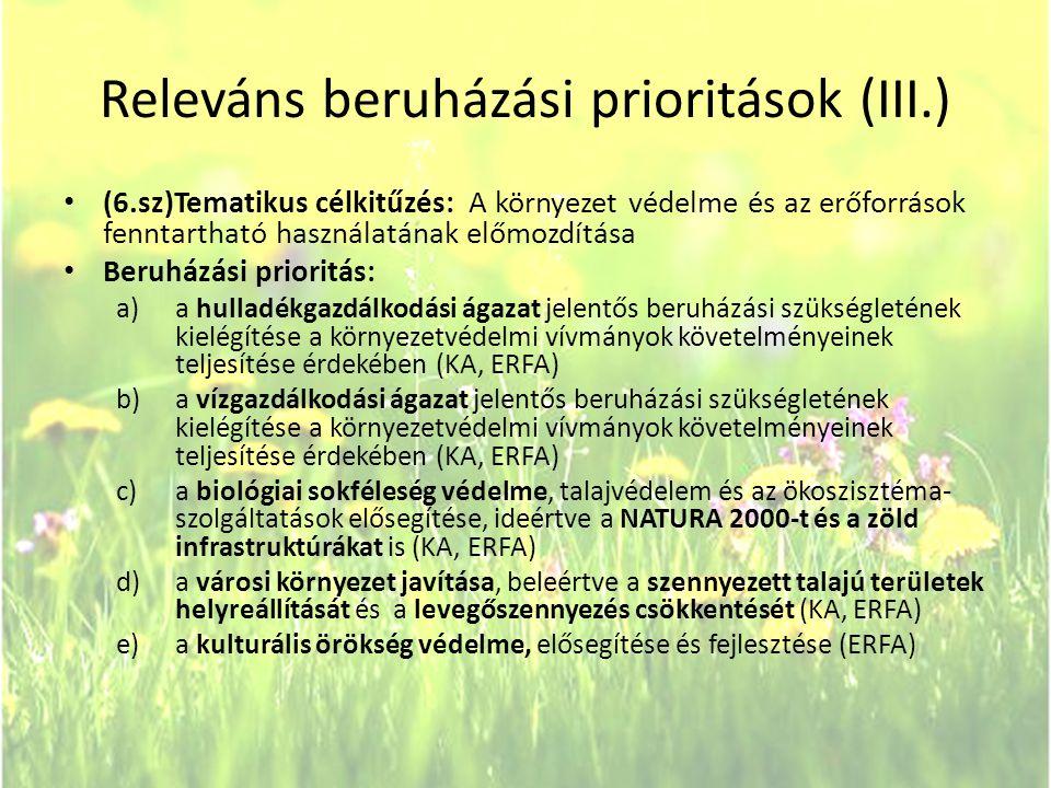 Releváns beruházási prioritások (III.)
