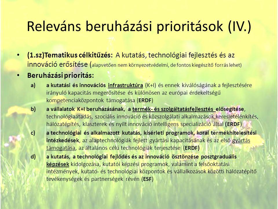 Releváns beruházási prioritások (IV.)