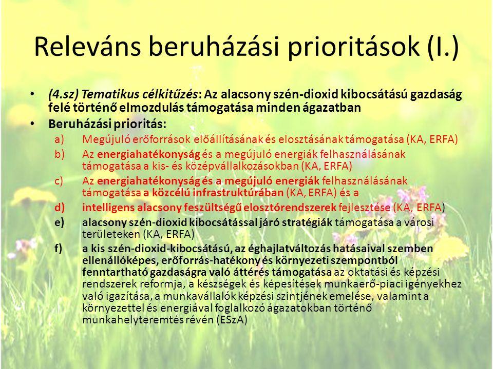 Releváns beruházási prioritások (I.)