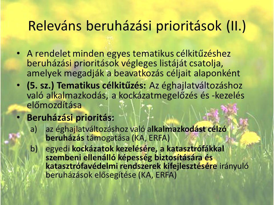 Releváns beruházási prioritások (II.)