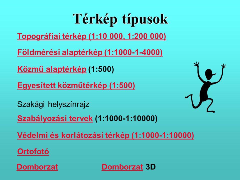 Térkép típusok Topográfiai térkép (1:10 000, 1:200 000)