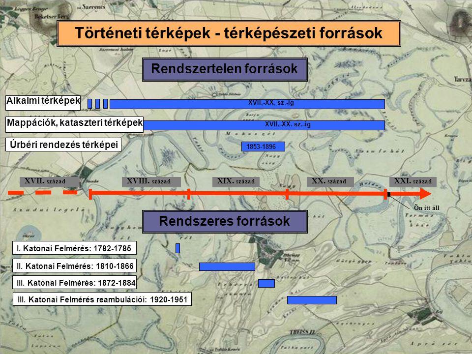 Történeti térképek - térképészeti források Rendszertelen források