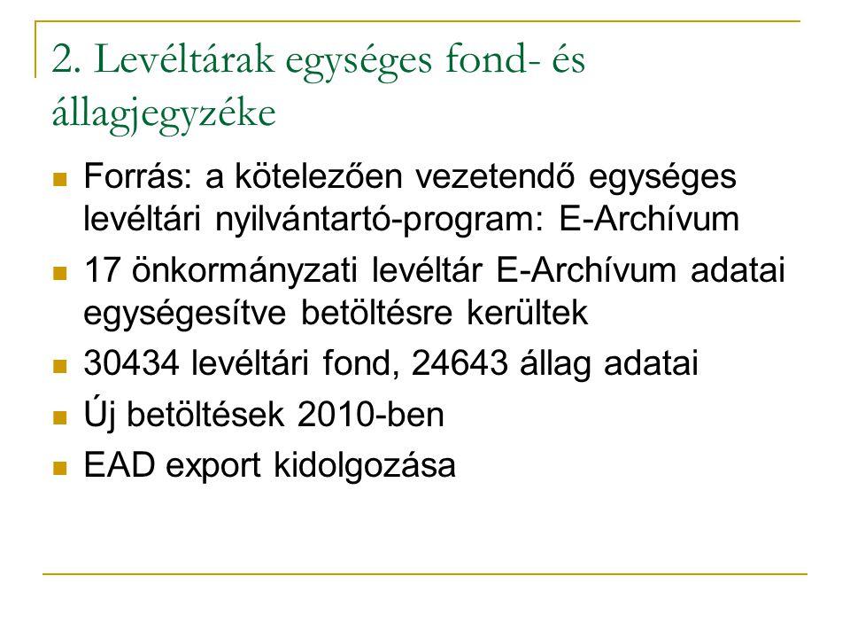 2. Levéltárak egységes fond- és állagjegyzéke