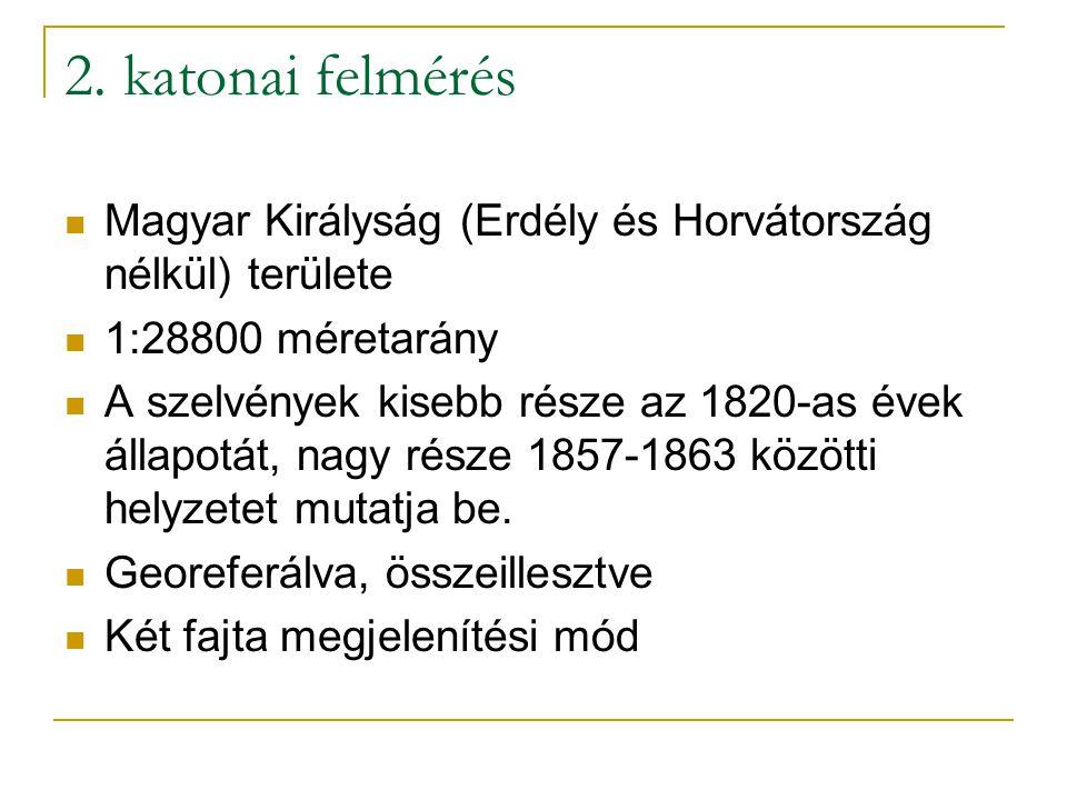 2. katonai felmérés Magyar Királyság (Erdély és Horvátország nélkül) területe. 1:28800 méretarány.