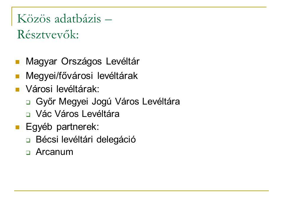 Közös adatbázis – Résztvevők: