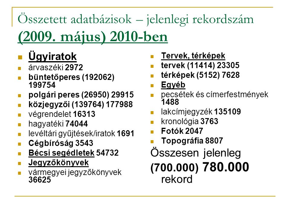 Összetett adatbázisok – jelenlegi rekordszám (2009. május) 2010-ben