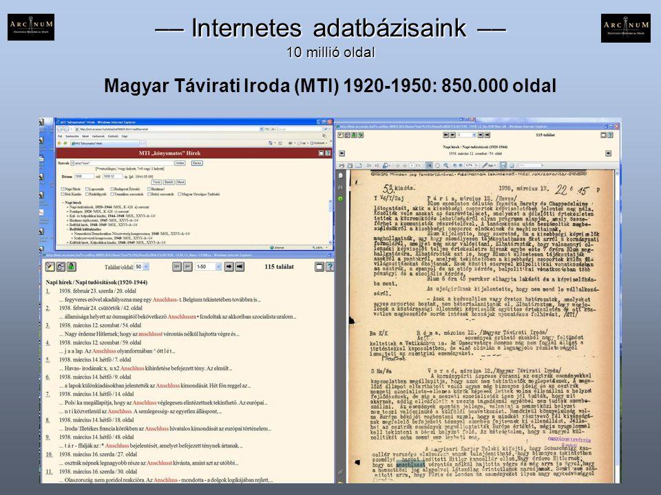 Magyar Távirati Iroda (MTI) 1920-1950: 850.000 oldal