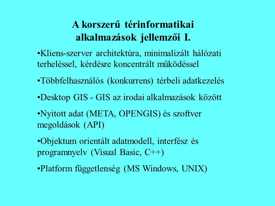 A korszerű térinformatikai alkalmazások jellemzői I.