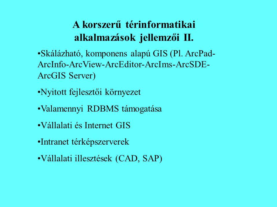 A korszerű térinformatikai alkalmazások jellemzői II.