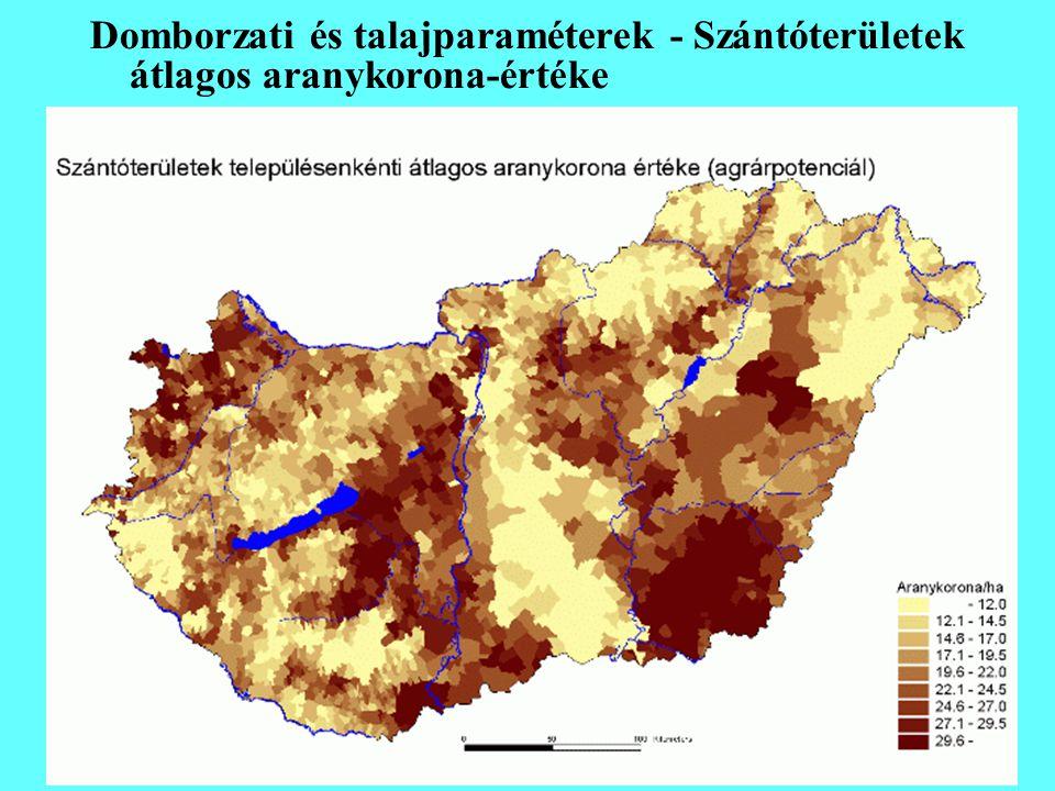 Domborzati és talajparaméterek - Szántóterületek átlagos aranykorona-értéke
