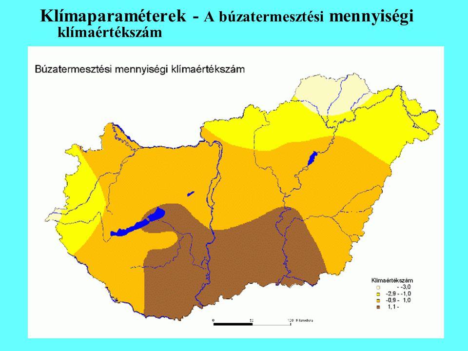 Klímaparaméterek - A búzatermesztési mennyiségi klímaértékszám