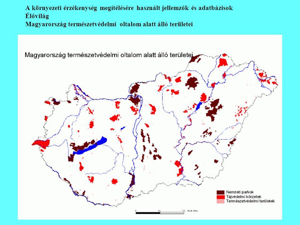A környezeti érzékenység megítélésére használt jellemzők és adatbázisok
