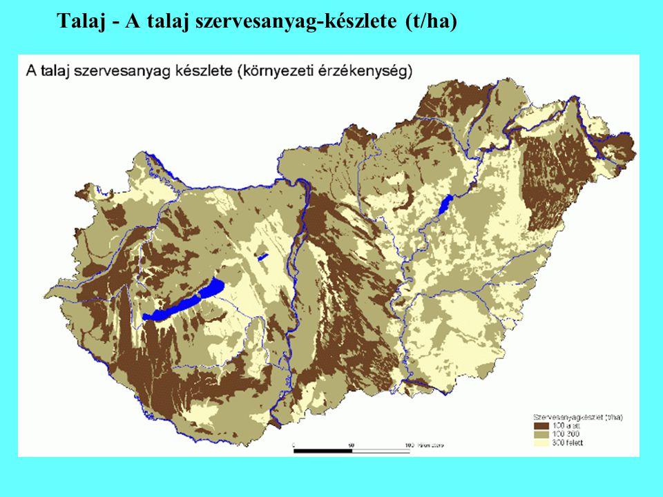 Talaj - A talaj szervesanyag-készlete (t/ha)