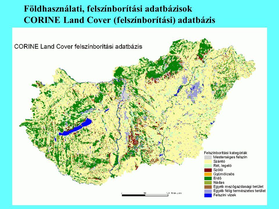 Földhasználati, felszínborítási adatbázisok