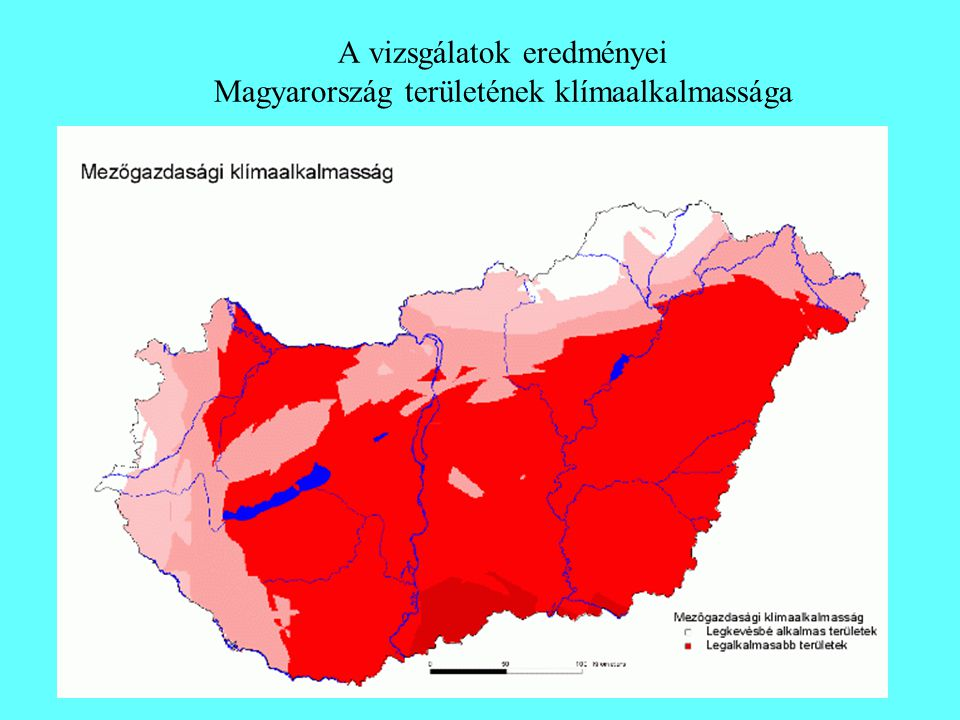 A vizsgálatok eredményei Magyarország területének klímaalkalmassága