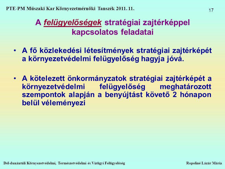 A felügyelőségek stratégiai zajtérképpel kapcsolatos feladatai