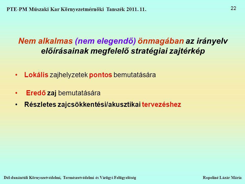 PTE-PM Műszaki Kar Környezetmérnöki Tanszék 2011. 11.