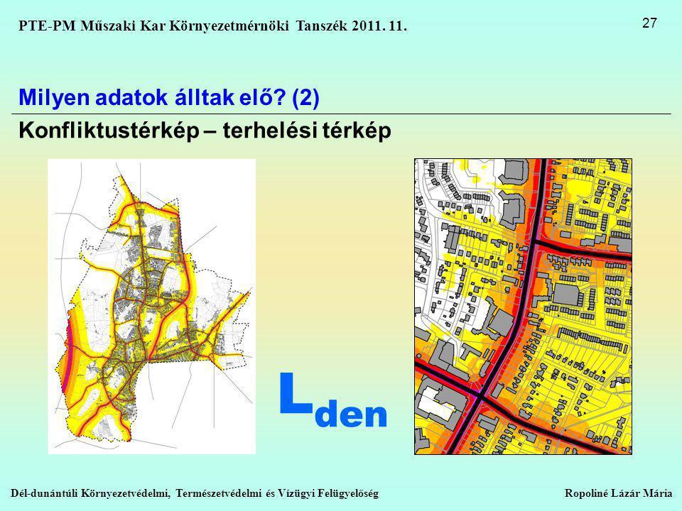 Lden Milyen adatok álltak elő (2) Konfliktustérkép – terhelési térkép