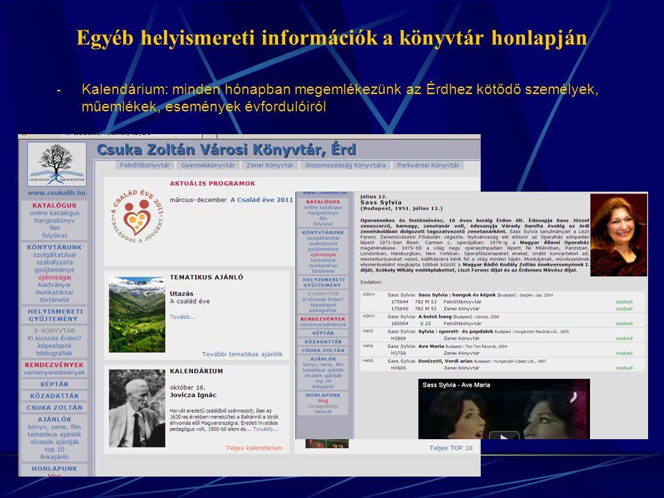 Egyéb helyismereti információk a könyvtár honlapján