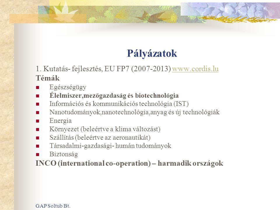 Pályázatok 1. Kutatás- fejlesztés, EU FP7 (2007-2013) www.cordis.lu