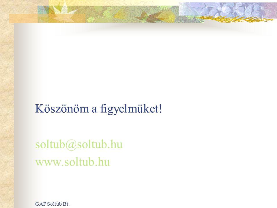 Köszönöm a figyelmüket! soltub@soltub.hu www.soltub.hu