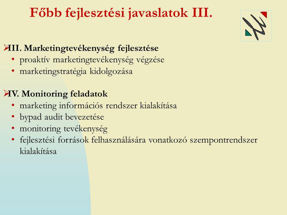 Főbb fejlesztési javaslatok III.