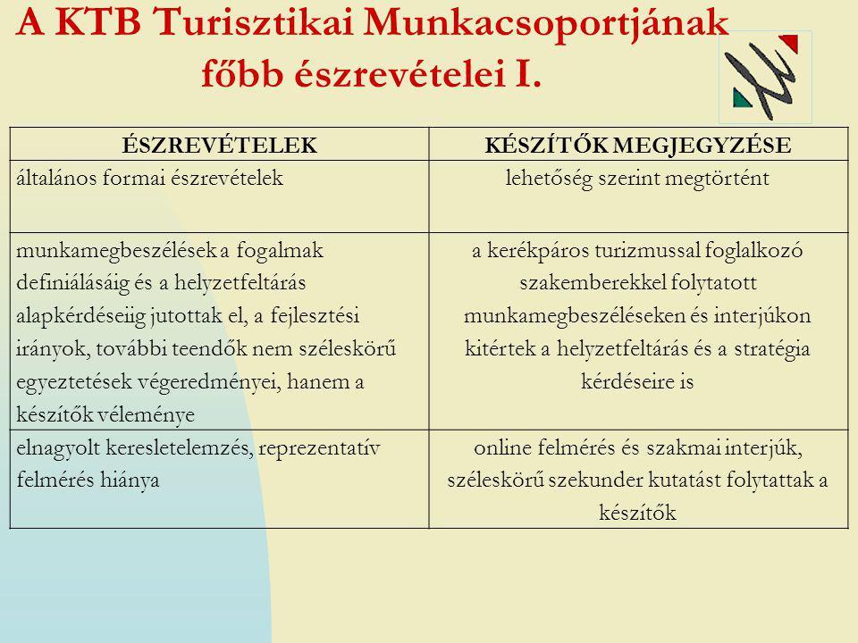 A KTB Turisztikai Munkacsoportjának főbb észrevételei I.