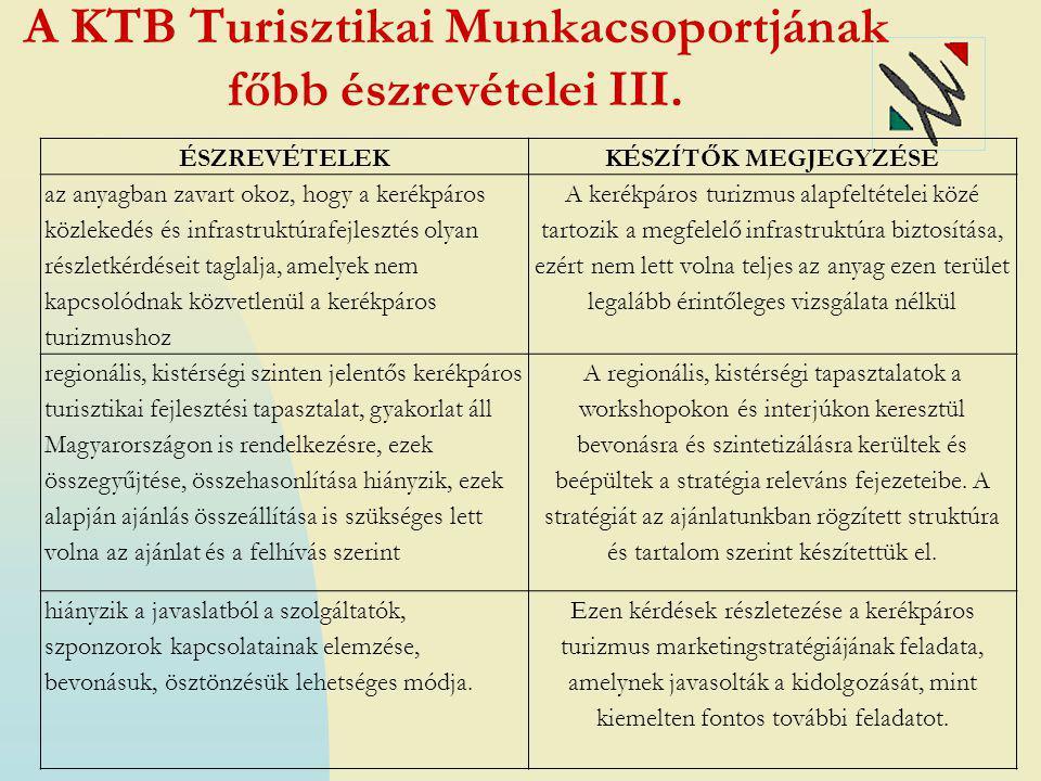A KTB Turisztikai Munkacsoportjának főbb észrevételei III.