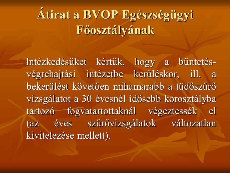 Átirat a BVOP Egészségügyi Főosztályának