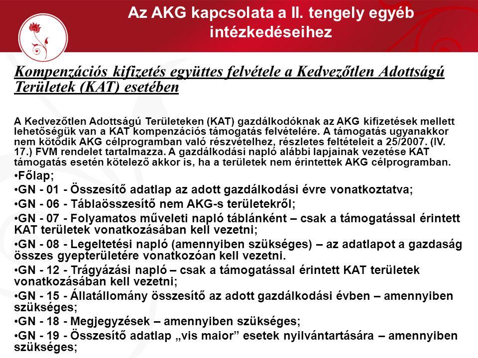 Az AKG kapcsolata a II. tengely egyéb intézkedéseihez