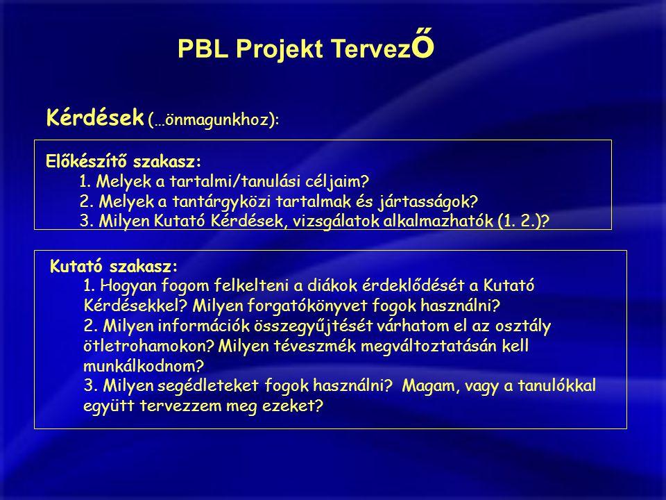 PBL Projekt Tervező Kérdések (…önmagunkhoz): Előkészítő szakasz: