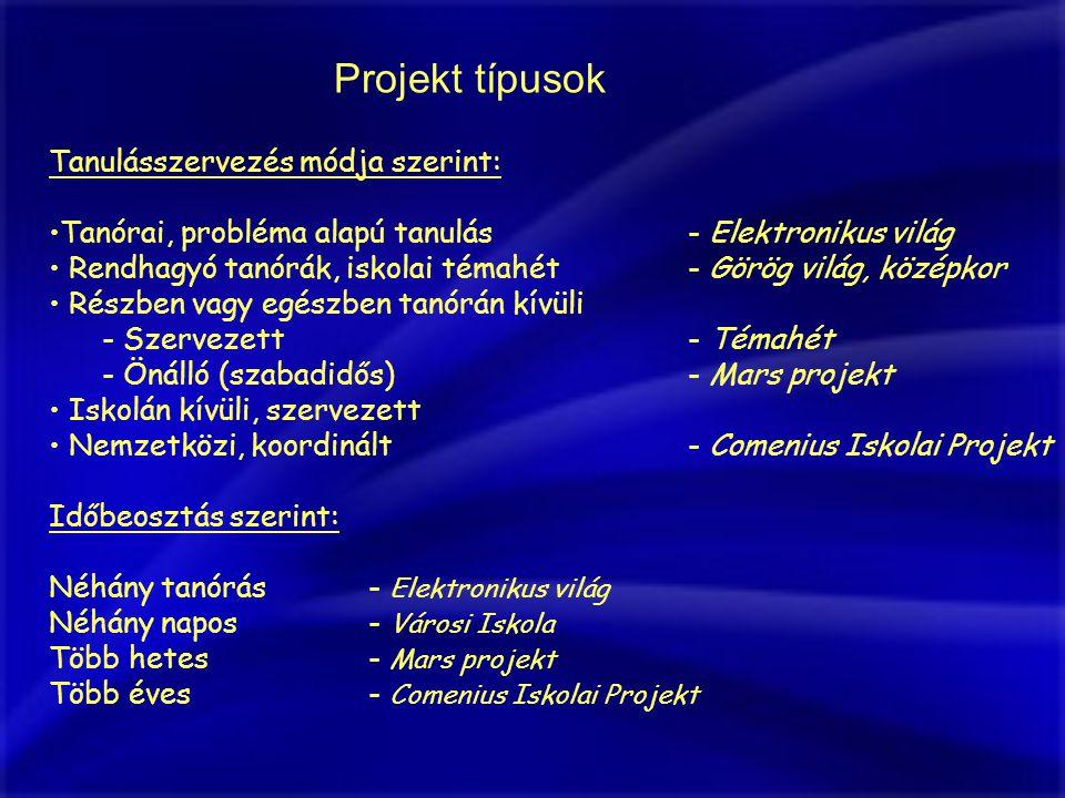 Projekt típusok Tanulásszervezés módja szerint: