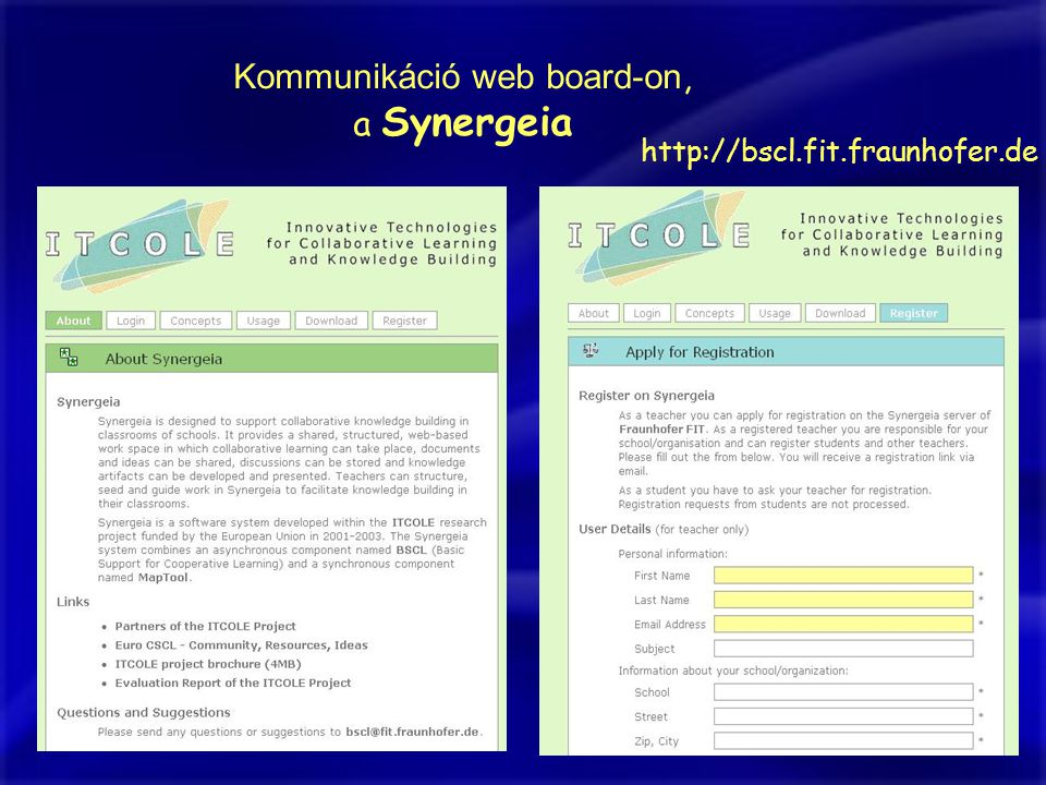 Kommunikáció web board-on,