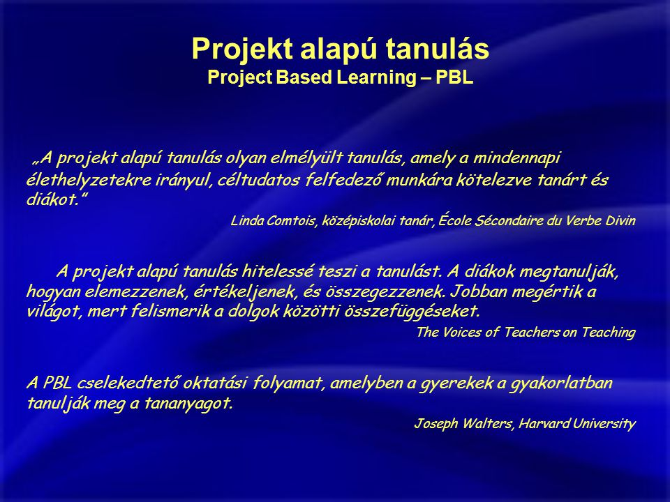 Project Based Learning – PBL