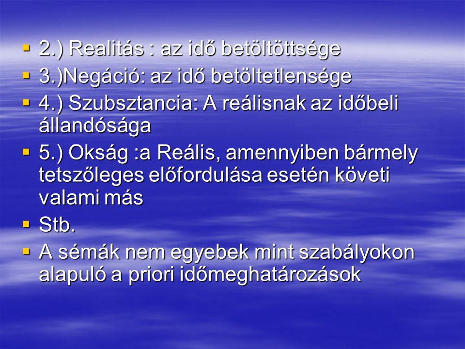 2.) Realitás : az idő betöltöttsége
