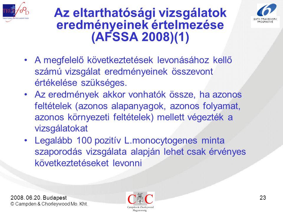 Az eltarthatósági vizsgálatok eredményeinek értelmezése (AFSSA 2008)(1)