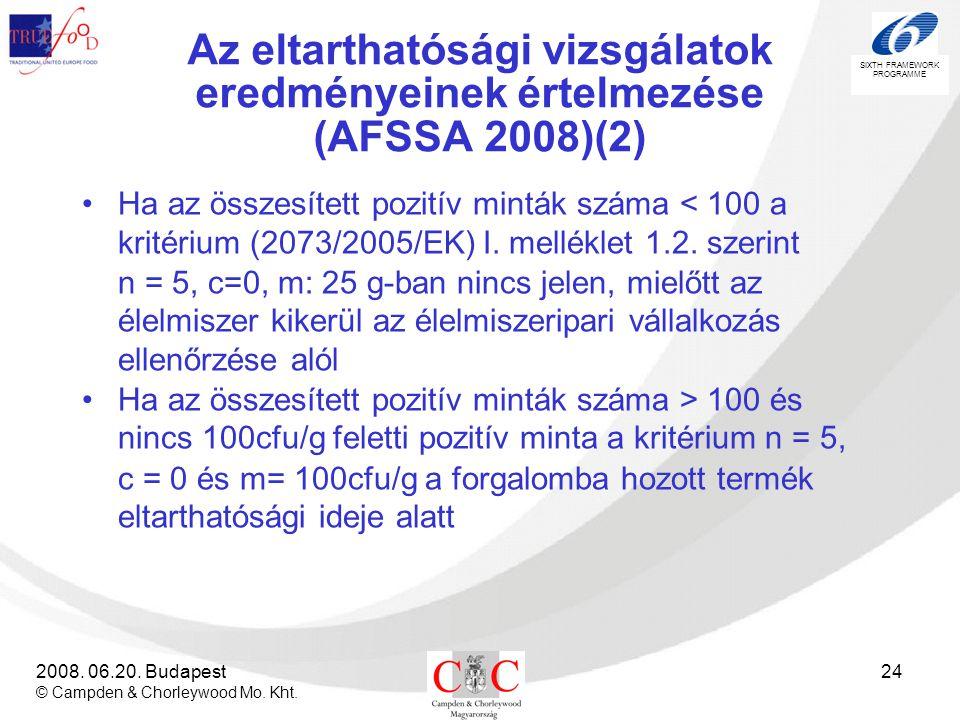 Az eltarthatósági vizsgálatok eredményeinek értelmezése (AFSSA 2008)(2)