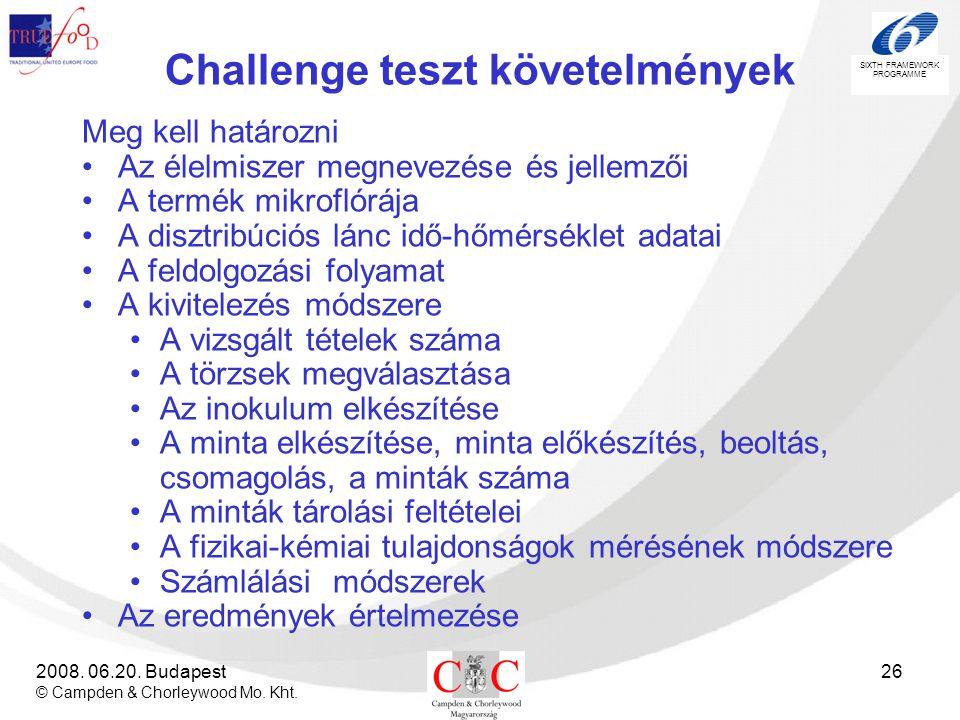 Challenge teszt követelmények