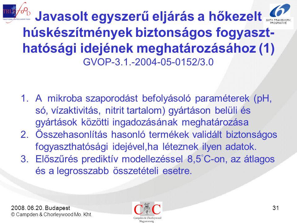 Javasolt egyszerű eljárás a hőkezelt húskészítmények biztonságos fogyaszt-hatósági idejének meghatározásához (1) GVOP-3.1.-2004-05-0152/3.0