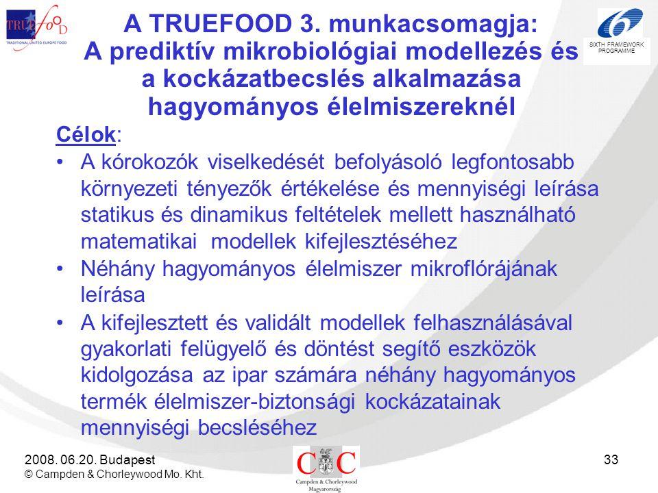 A TRUEFOOD 3. munkacsomagja: A prediktív mikrobiológiai modellezés és a kockázatbecslés alkalmazása hagyományos élelmiszereknél