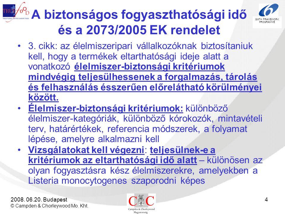 A biztonságos fogyaszthatósági idő és a 2073/2005 EK rendelet