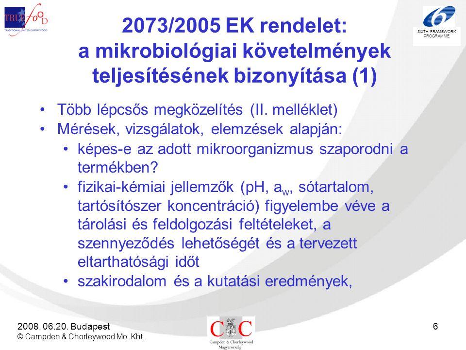 2073/2005 EK rendelet: a mikrobiológiai követelmények teljesítésének bizonyítása (1)