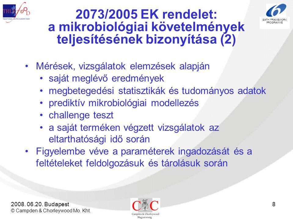 2073/2005 EK rendelet: a mikrobiológiai követelmények teljesítésének bizonyítása (2)