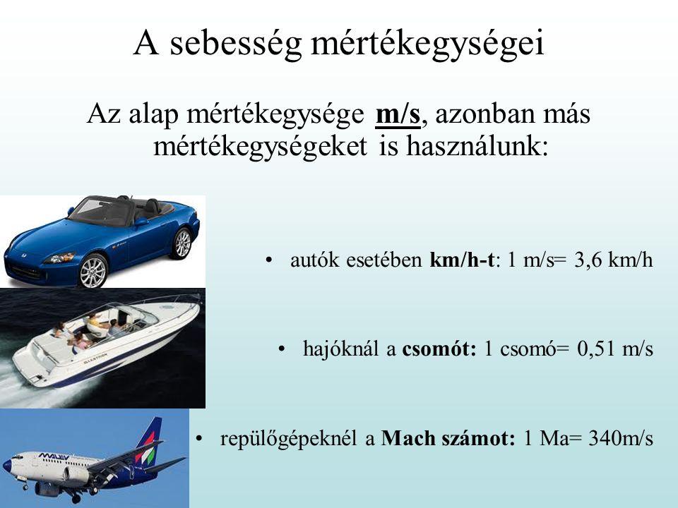 A sebesség mértékegységei