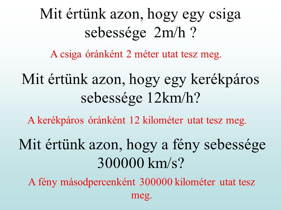 Mit értünk azon, hogy egy csiga sebessége 2m/h