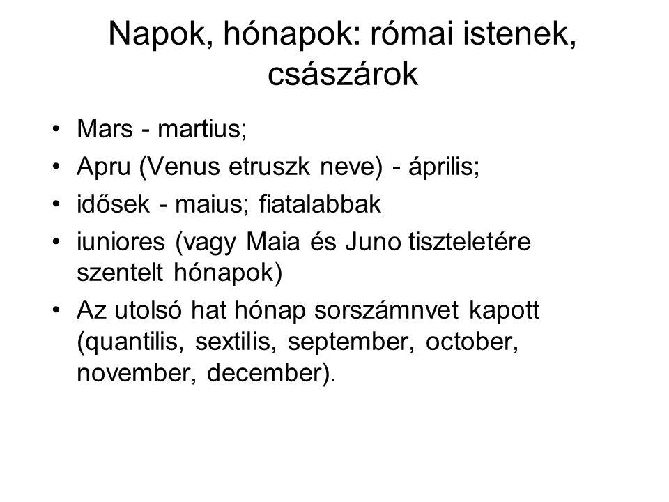 Napok, hónapok: római istenek, császárok