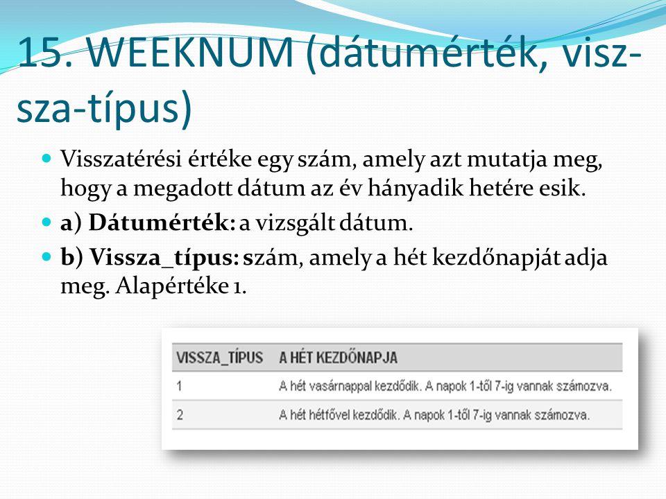 15. WEEKNUM (dátumérték, visz-sza-típus)